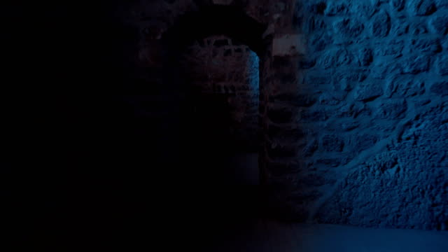 ishak pasha palace - walking inside of the dungeon tunnel in palace - dungeon stock videos & royalty-free footage
