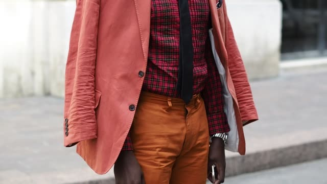 ishmael jeffers is wearing a ralph lauren shirt, ralph lauren sunglasses, and a boss tie, before the paul smith show, during paris fashion week... - shirt and tie stock videos & royalty-free footage