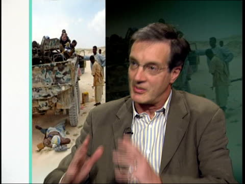 islamic militias close to taking control of the country; england: london: gir: int richard dowden interview sot - american policy in somalia has... - アフリカの角点の映像素材/bロール