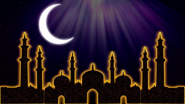 islamic ramadan eid neon background - ramadan stock videos and b-roll footage