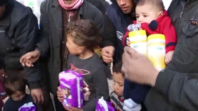 Islamic Society Masjid Musab Bin Umayr provides humanitarian aid for 100 Syrians at Herze tent city in northern Idlib Syria on February 06 2017...