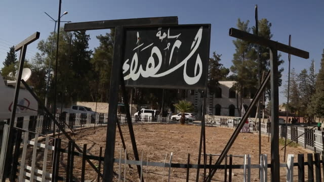 vídeos y material grabado en eventos de stock de islamic state execution posts in the syrian city of jarabulus - isis