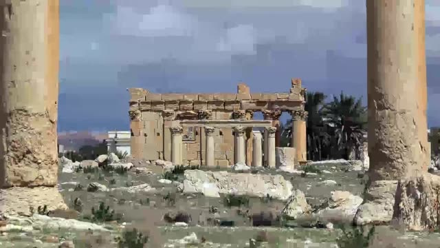 vídeos de stock, filmes e b-roll de islamic state militants on sunday blew up the ancient temple of baal shamin in the unesco listed syrian city of palmyra an official said the latest... - isis