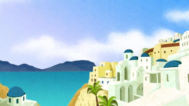 vídeos de stock e filmes b-roll de island cityscape - design plano