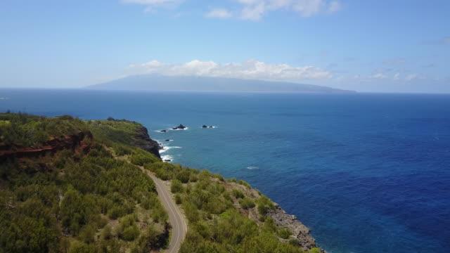 island coastline in hawaii, aerial - land stock videos & royalty-free footage