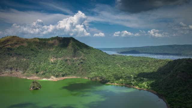 island on an island, taal lake - time lapse - philippines stock videos and b-roll footage