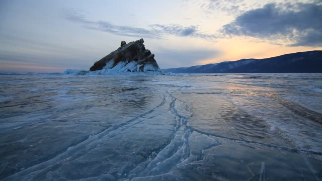 island on lake baikal at sunset - 40 seconds or greater stock videos & royalty-free footage