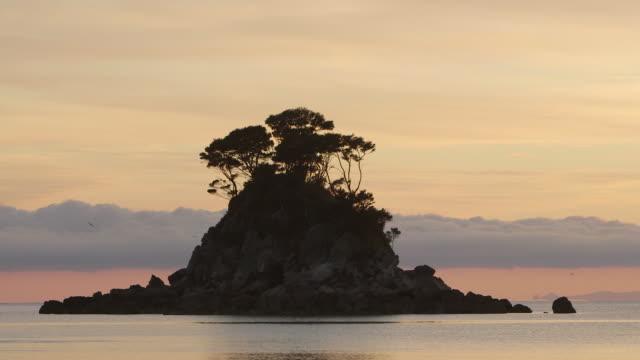Island sunset in New Zealand beauty scenics