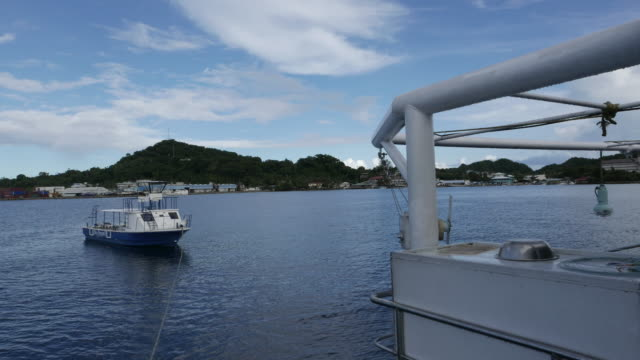 Island view from boat deck, Koror, Palau