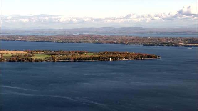 islands in lake Champlain - Aerial View - New York,  Clinton County,  United States