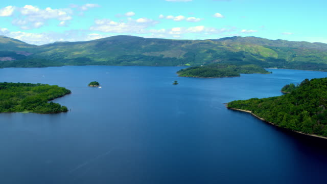 islands in large lake, loch lomond , scotland - panoramic stock videos & royalty-free footage