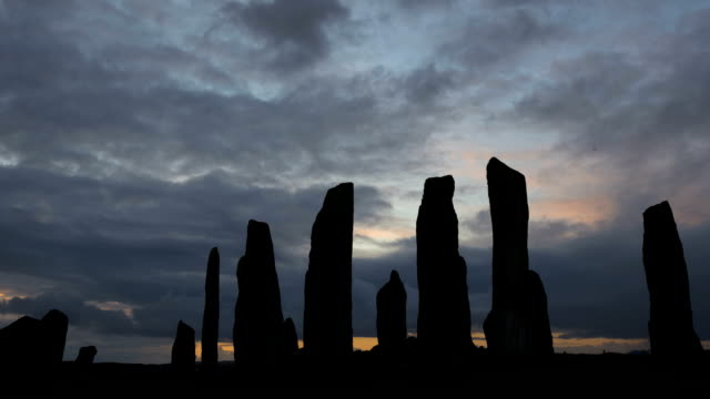 isle lewis outer hebrides callanish standing stones scotland sunrise tl - hebrides stock videos & royalty-free footage
