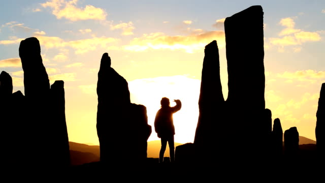 isle lewis outer hebrides callanish standing stones scotland sunset - obelisk stock videos & royalty-free footage