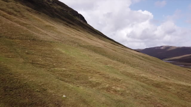 isle of mull drone aerials over hill - hebrides stock videos & royalty-free footage