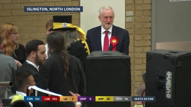 special 0200 0300 islington jeremy corbyn with other candidates at count and emily thornberry - islington stock-videos und b-roll-filmmaterial