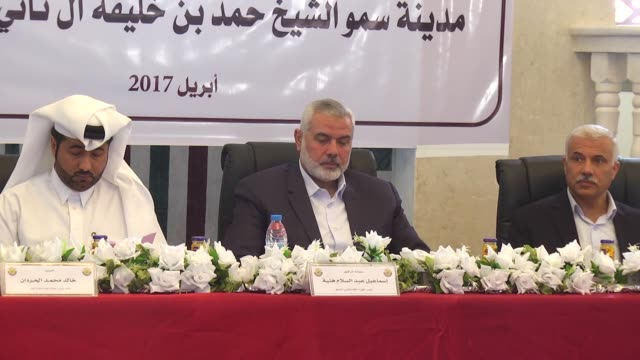 Ismail Haniyeh the deputy leader of Hamas and Khalid alHardan Deputy Head of the reconstruction committee in Gaza attend the opening ceremony of...