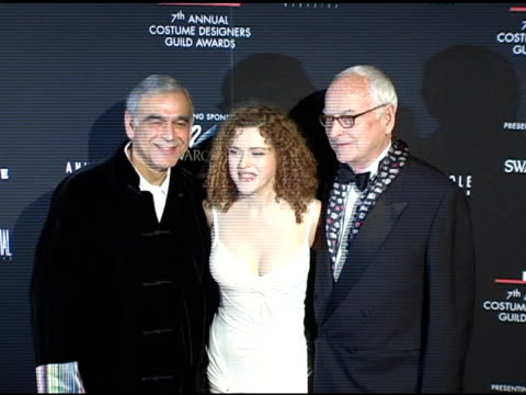 ismail mercant bernadette peters and james ivory at the 7th annual costume designers guild awards gala at the beverly hilton in beverly hills... - バーナデット ピータース点の映像素材/bロール