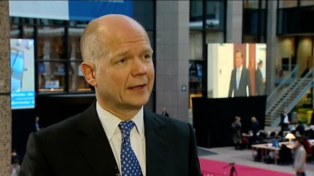 William Hague interview BELGIUM Brussels INT William Hague MP interview SOT We're standing up for the British national interest/ that is what we said...