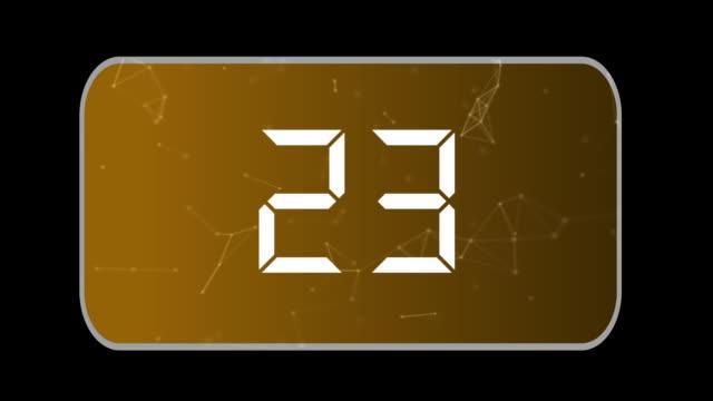 isolierter hintergrund 30 bis 0 countdown, gegen den uhrzeigersinn, orangefarbener hintergrund - 30 seconds or greater stock-videos und b-roll-filmmaterial
