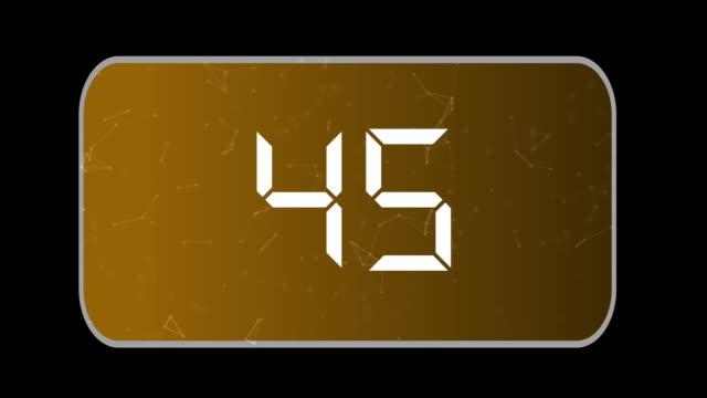 isolierter hintergrund 60 bis 0 countdown, gegen den uhrzeigersinn, orange hintergrund eine minute countdown - 30 seconds or greater stock-videos und b-roll-filmmaterial