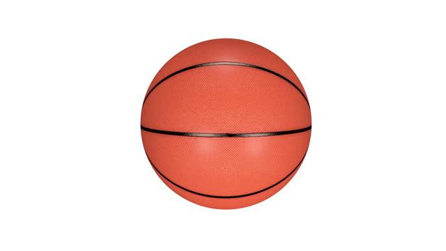 vidéos et rushes de basket-ball photoréaliste d'isolement tournant sur l'écran blanc. boucle transparente. 4k (4k) - ball