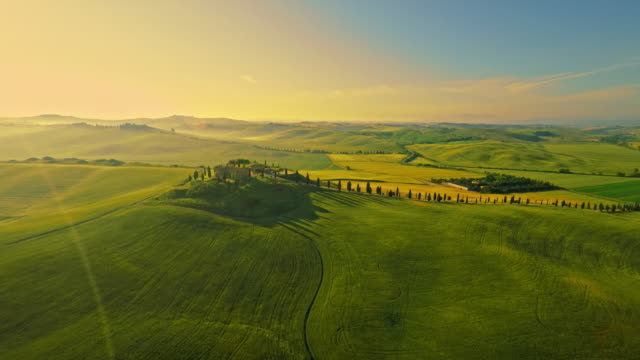 aerial isolated villa in the tuscany - tuscany stock videos and b-roll footage