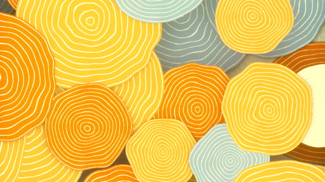 isometric moving multi colored pattern of retro circles with tree rings. 3d rendering flat seamless loop animation hd - concentric stock videos & royalty-free footage