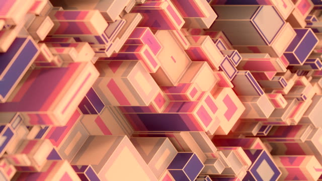 isometric randomly moving rectangular pattern. abstract multi colored geometric background. digital seamless loop animation. 3d rendering. 4k, ultra hd resolution - block shape stock videos & royalty-free footage