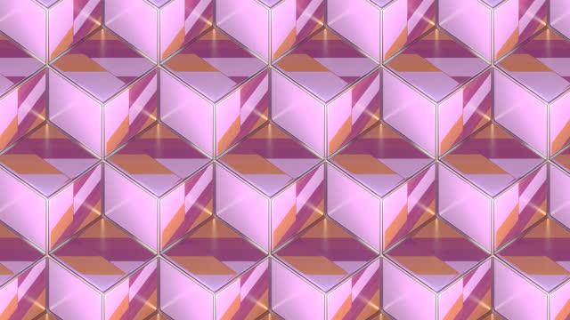銀色のワイヤフレームで多色パターンを持つ立方体を移動する等角投影図。デジタルシームレスなループアニメーション。3d レンダリング。4k、ウルトラhd解像度 - 投影図点の映像素材/bロール