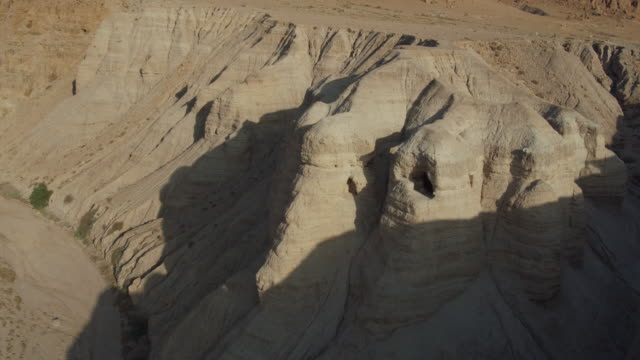 israel, aerial view of qumran archaeological site - cave stock videos & royalty-free footage