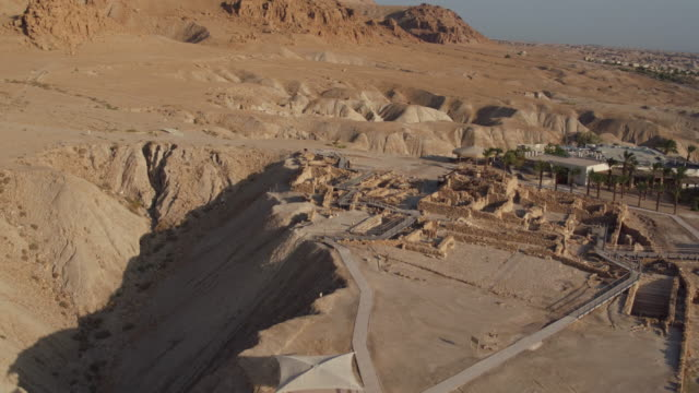 Israel, aerial view of Qumran archaeological site