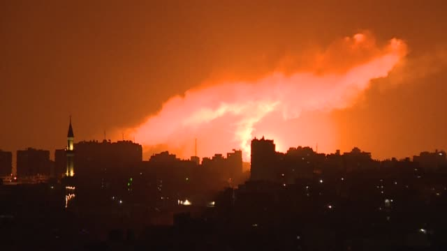 israel bombed sites in the gaza strip early wednesday, palestinian security sources said, after rocket fire from the hamas-controlled territory into... - israel stock videos & royalty-free footage