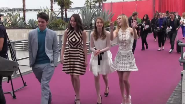 israel broussard, katie chang, taissa farmiga & claire julien attend a press conference for 'the bling ring' at the palais des festivals on may 16,... - bling bling stock-videos und b-roll-filmmaterial