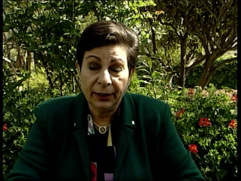 israel calls for exile of yasser arafat; itn ext hanan ashrawi interviewed sot - these are 7 police, not so called terrorists, don't have heavy... - executioner stock videos & royalty-free footage