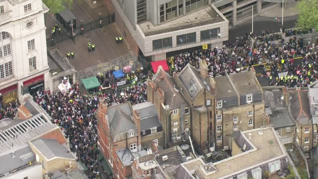 israel destroys gaza tower block housing international media organisations / pro-palestine protest march in london; england: london: ext air view... - war and conflict stock videos & royalty-free footage