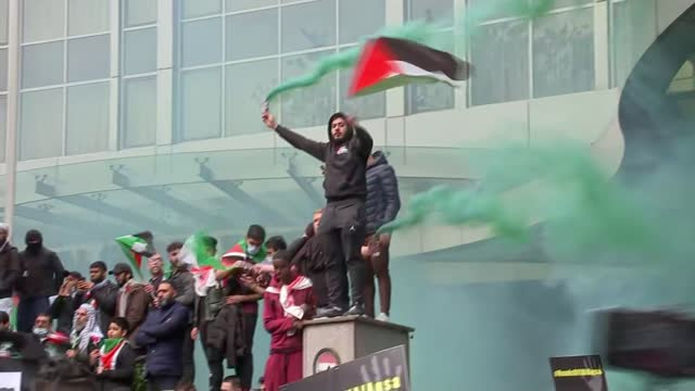 israel destroys gaza tower block housing international media organisations / pro-palestine protest march in london; england: london: ext various of... - activity stock videos & royalty-free footage