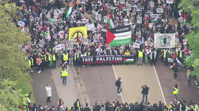 israel destroys gaza tower block housing international media organisations / pro-palestine protest march in london; england: london: ext air view /... - war and conflict stock videos & royalty-free footage