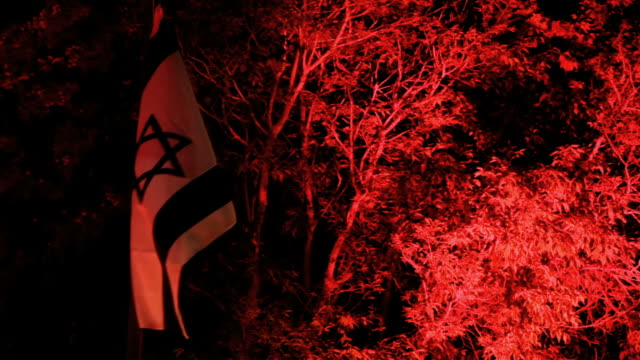israel flag waving in red light at night - identity stock videos & royalty-free footage