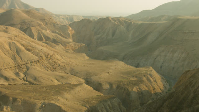 Israel Judean Desert Cleft passing by Aerial shot