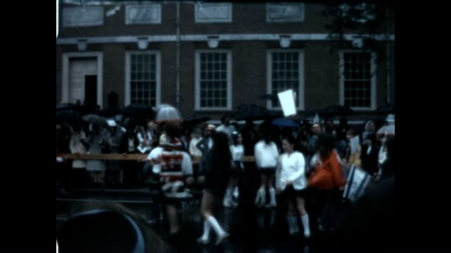 israel parade and folk dancing in front of independence hall from a home movie archive in the 1970's - independence hall stock videos & royalty-free footage