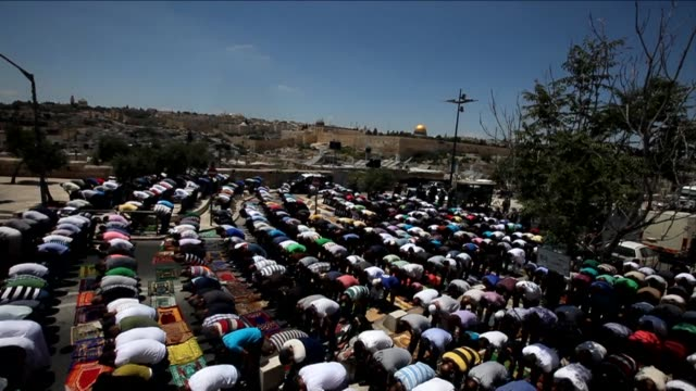 israel restricted access to the al aqsa mosque compound today during weekly friday prayers as it pushed its military offensive in gaza - weekly stock videos and b-roll footage