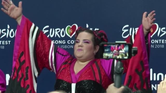israel singer netta barzilai gives a press conference after winning the eurovision song contest in lisbon beating 25 other contestants with her... - eurovision song contest stock videos & royalty-free footage