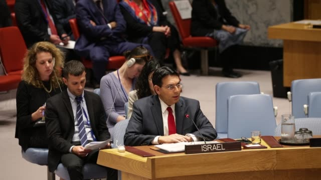 israeli ambassador to the united nations danny danon speaks during a un security council meeting concerning the violence at the border of israel and... - ambassador stock videos & royalty-free footage