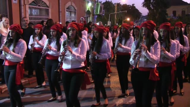 israeli arab christians participate in an orthodox christmas parade in the central city of jaffa on january 06, 2017. given the diversity of... - eddie gerald stock videos & royalty-free footage
