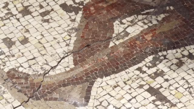 israeli archaeologists on thursday unveiled what they called a rare and beautiful roman mosaic floor excavated in the ancient mediterranean port city... - caesarea stock videos & royalty-free footage