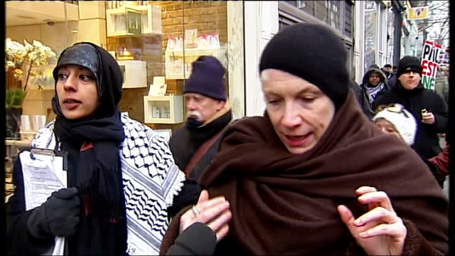 demonstration and rally in London Annie Lennox interview SOT One and a half million people trapped in Gaza with onslaught from air sea and ground /...