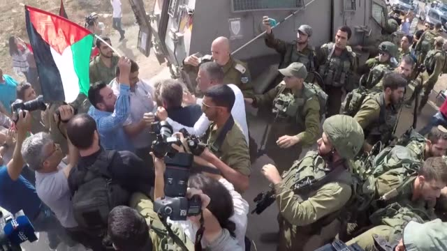 """israeli authorities on sunday released palestinian teen ahed altamimi and her mother from prison after an 8month detention """"the palestinian people... - palestinian stock videos & royalty-free footage"""