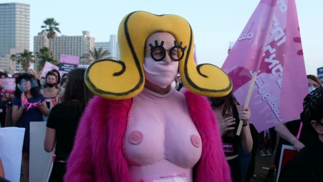 israeli famous visual artist zeev engelmayer dressed in a blond busty cartoon costume is seen among thousands gathered on monday in tel aviv's... - cartoon stock videos & royalty-free footage