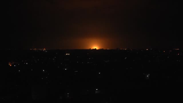 israeli fighter jets struck targets in the northern gaza strip on february 23, 2020. at least four palestinians injured in the attacks late sunday. - air raid stock videos & royalty-free footage