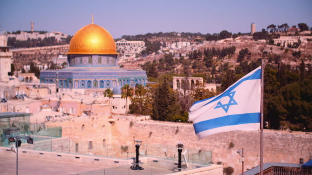 israeli flag near the temple mount - jerusalem stock videos & royalty-free footage